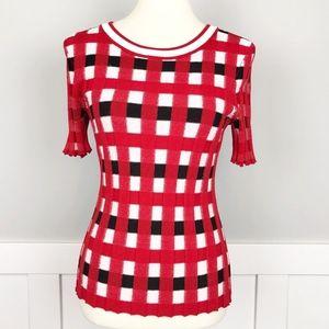 Kate Spade Half Sleeve Plaid Blouse Red Black